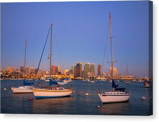 Harbor Sailboats Canvas Print
