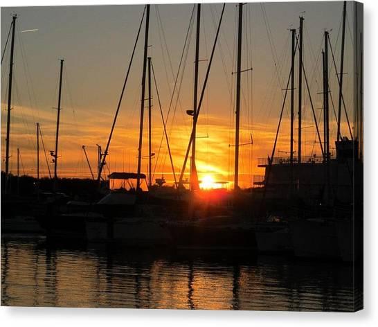 Harbor Sunset In Charleston Sc Canvas Print