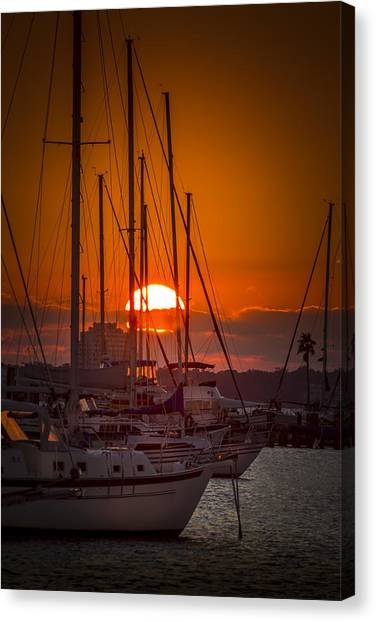 Palm Trees Sunsets Canvas Print - Harbor Sunset by Marvin Spates