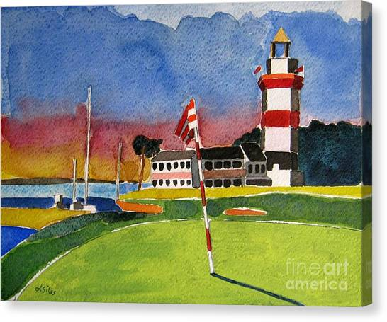 Lighthouse Canvas Print - Harbour Town 18th Sc by Lesley Giles