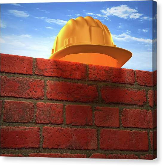 Hard Hat Canvas Print - Hard Hat On A Brick Wall by Ktsdesign