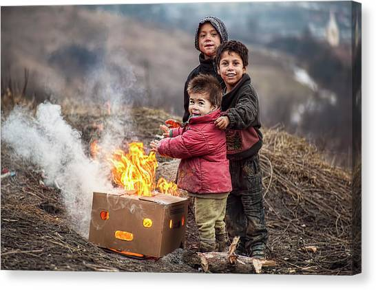 Flames Canvas Print - Hard Life But Smile On Their Faces! by Hamos Gyozo