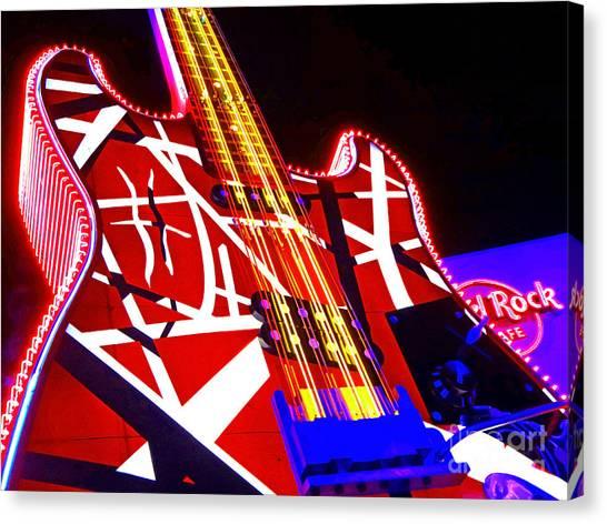 Hard Rock Glowing Guitar Canvas Print