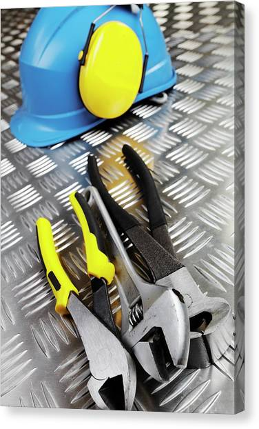 Protective Clothing Canvas Print - Hardhat And Tools by Christian Lagerek/science Photo Library