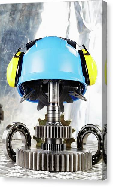 Protective Clothing Canvas Print - Hardhat With Industrial Gears by Christian Lagerek/science Photo Library