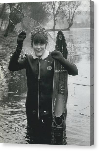 Hardy Jeannette Breaks The Ice At Rickmansworth Aquadrome Canvas Print by Retro Images Archive