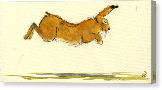 Hare Canvas Print - Hare Jumping by Juan  Bosco