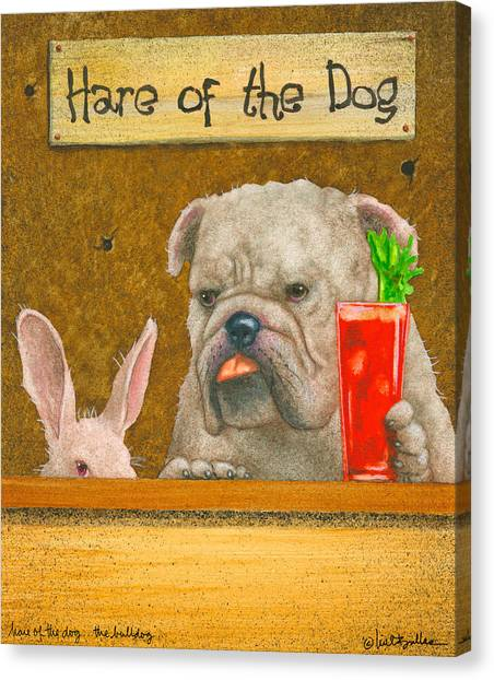 Hare Of The Dog...the Bulldog... Canvas Print