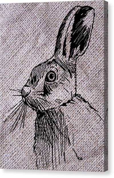 Hare On Burlap Canvas Print