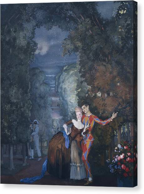 Rococo Art Canvas Print - Harlequin And A Lady by Konstantin Andreevic Somov