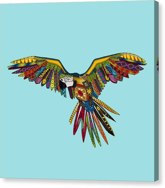 Macaws Canvas Print - Harlequin Parrot by Sharon Turner