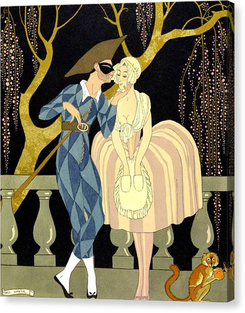 Couple Canvas Print - Harlequin's Kiss by Georges Barbier