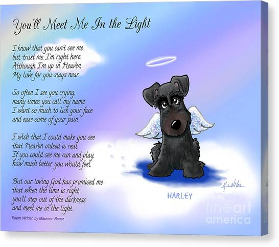 Schnauzers Canvas Print - Harley Angel With Poem by Kim Niles
