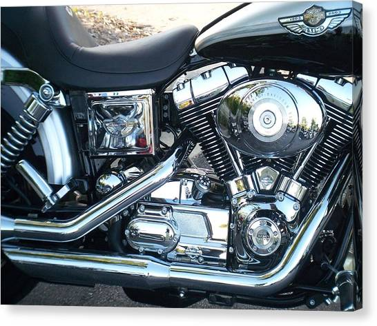 Harley Black And Silver Sideview Canvas Print