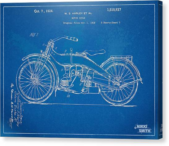 Motorcycle Canvas Print - Harley-davidson Motorcycle 1924 Patent Artwork by Nikki Marie Smith