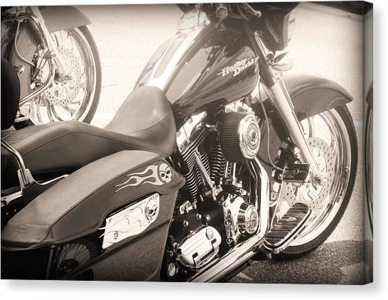 Canvas Print featuring the photograph Harley Davidson With Flaming Skulls by Kelly Hazel