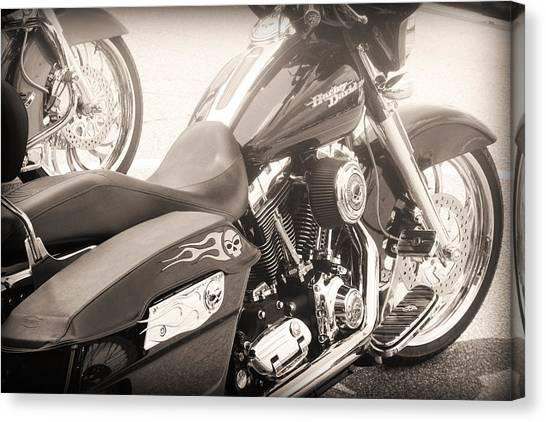 Harley Davidson With Flaming Skulls Canvas Print