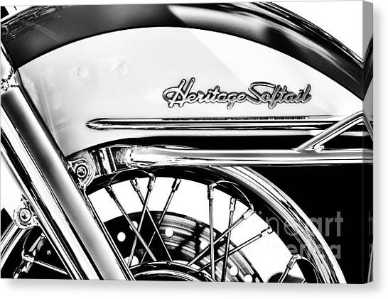 Front End Canvas Print - Harley Heritage Softail Monochrome by Tim Gainey