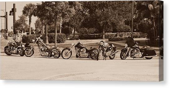 Choppers Canvas Print - Harley Line Up by Laura Fasulo