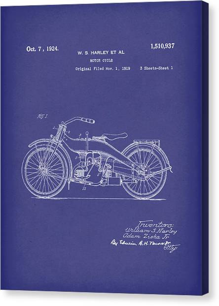 Harley Motorcycle 1924 Patent Art Blue Canvas Print by Prior Art Design