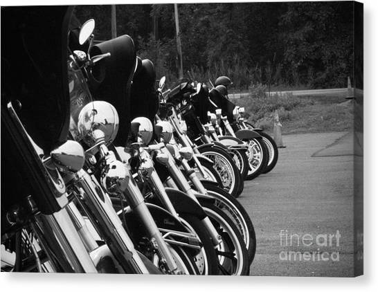 Harleys All In A Row Canvas Print