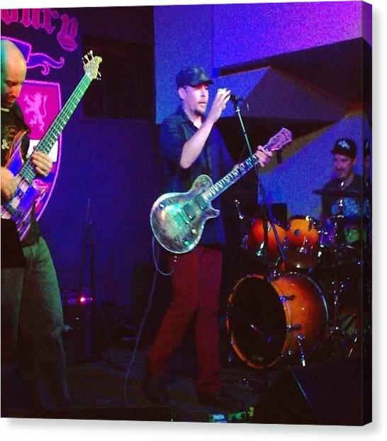 Bass Guitars Canvas Print - Harmoniousjunkatthearmourylastnight!! by S Teske
