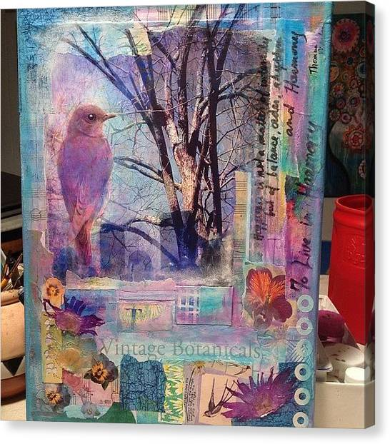 Robins Canvas Print - Harmony .. A New #mixedmediacollage by Robin Mead