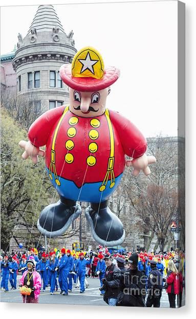 Macys Parade Canvas Print - Harold The Fireman Balloon At Macy's Thanksgiving Day Parade by David Oppenheimer