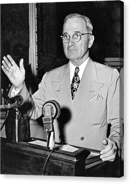 Harry Truman Canvas Print - Harry Truman Press Conference by Underwood Archives