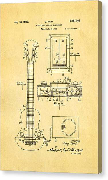 Household Canvas Print - Hart Gibson Electric Guitar Pickup Patent Art 1937 by Ian Monk