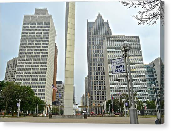 Ty Cobb Canvas Print - Hart Plaza Detroit by Frozen in Time Fine Art Photography