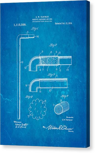 Nra Canvas Print - Hartman Confetti Gun Patent Art 1914 Blueprint by Ian Monk