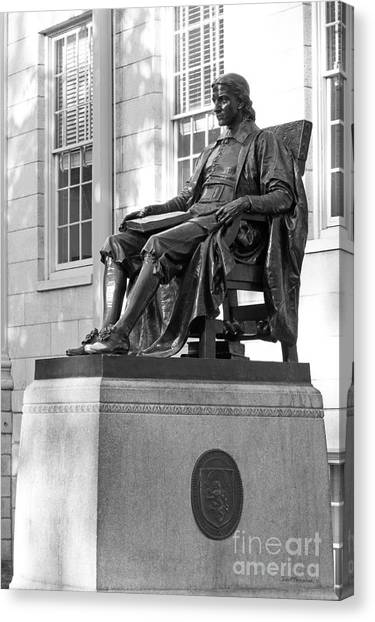 Harvard University Canvas Print - John Harvard Statue At Harvard University by University Icons