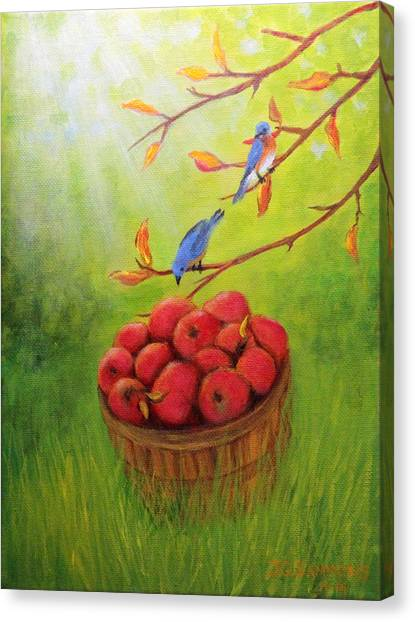 Harvest Apples And Bluebirds Canvas Print