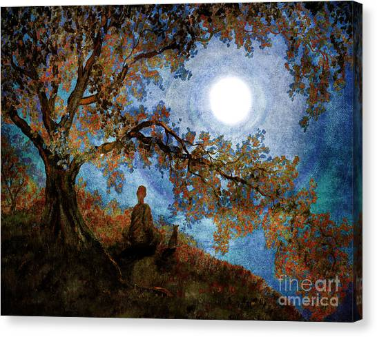Siamese Canvas Print - Harvest Moon Meditation by Laura Iverson