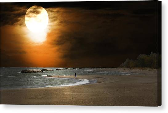 Harvest Moon On The Beach Canvas Print