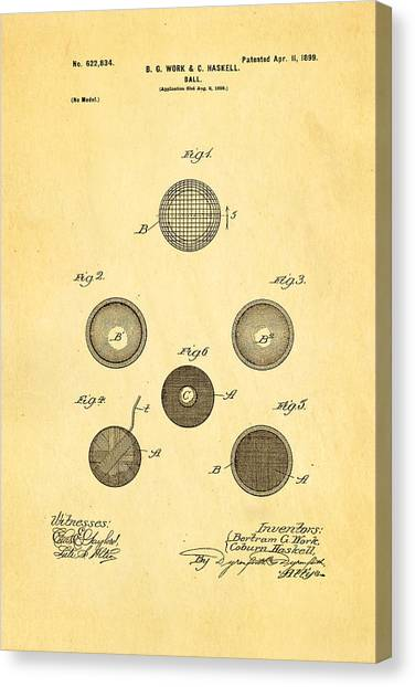 Trolley Canvas Print - Haskell Wound Golf Ball Patent 1899 by Ian Monk