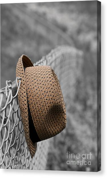 Chain Link Fence Canvas Print - Hat On Chain Link Fence by Edward Fielding