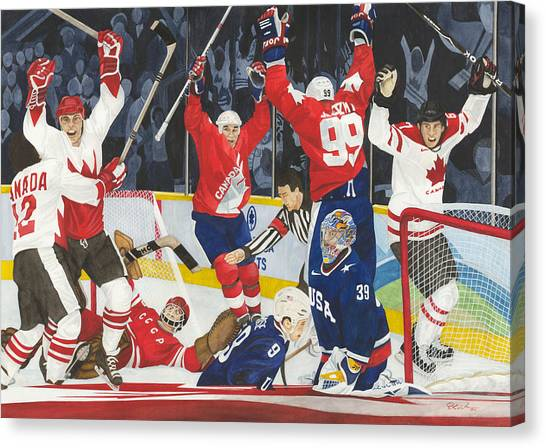 Wayne Gretzky Canvas Print - Hat Trick by Ronald Wilkie