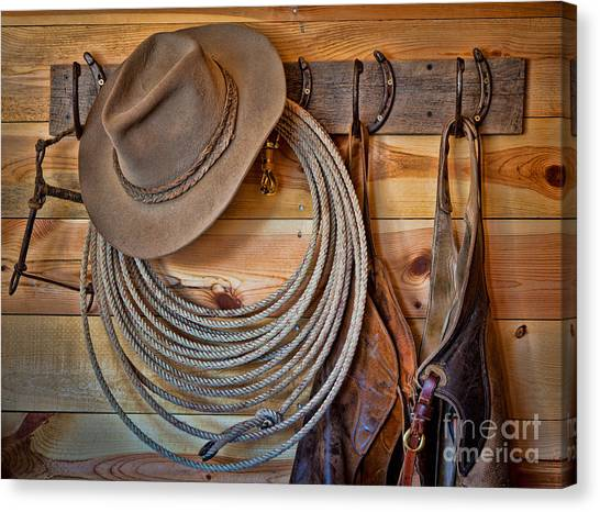 Lassos Canvas Print - Hats And Chaps by Inge Johnsson