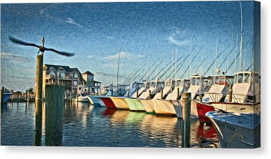 Hatteras Harbor Marina Canvas Print by Williams-Cairns Photography LLC