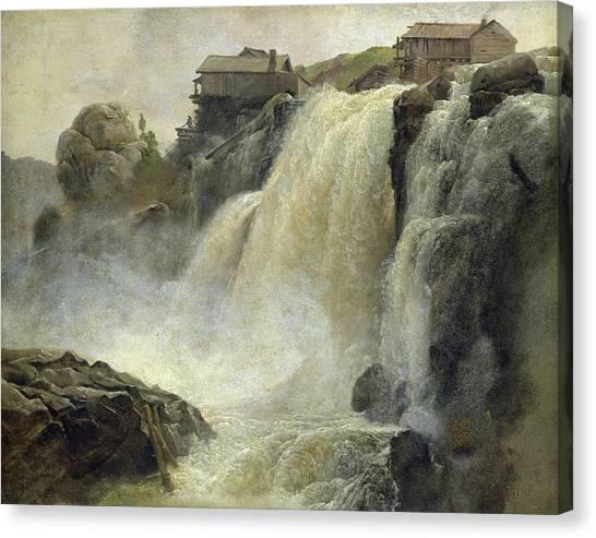 Log Cabin Canvas Print - Haugfoss In Norway by Christian Ernst Bernhard Morgenstern
