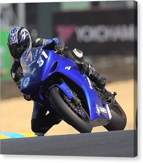 Yamaha Canvas Print - Hauling Ass At The Top Of Turn 2 At by Jeff Link