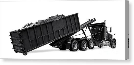 Dump Trucks Canvas Print - Hauling Away by Olivier Le Queinec
