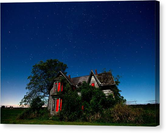 Ontario Canvas Print - Haunted Farmhouse At Night by Cale Best