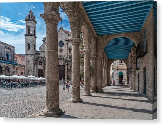 Havana Cathedral And Porches. Cuba Canvas Print