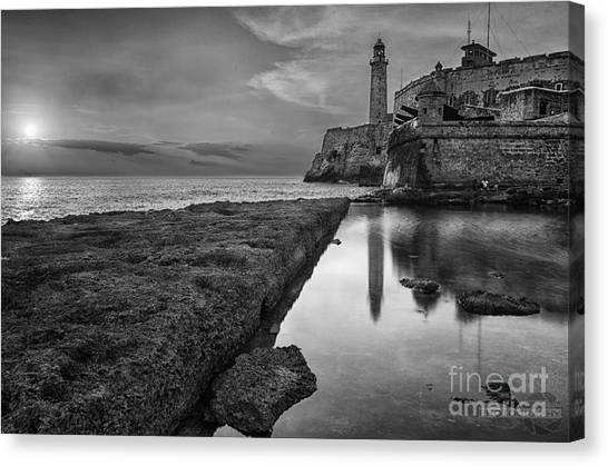 Havana Sunset Black And White Canvas Print