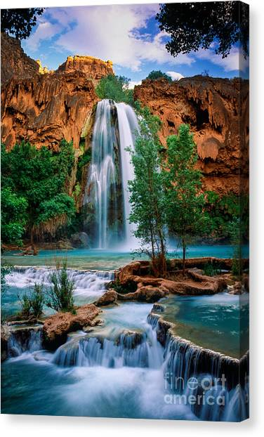 Waterfalls Canvas Print - Havasu Cascades by Inge Johnsson