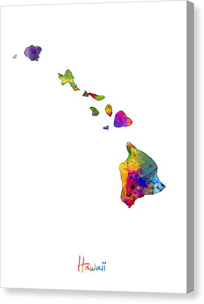 Hawaii Canvas Print - Hawaii Map by Michael Tompsett