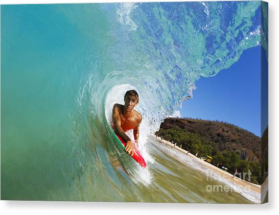Bodyboard Canvas Print - Hawaii, Maui, Makena - Big Beach, Boogie Boarder Riding Barrel Of Beautiful Wave Along Shore. by MakenaStockMedia